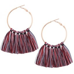 A-QD-E1131rb Red Black Round Tassel Korean Inspired Earstuds