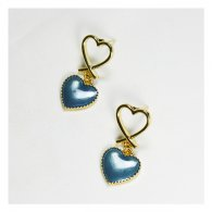 A-TT-519 Double Hearts Of Hollow Gold & Navy Blue Korean Earstud