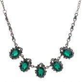 A-Q-9197 Green Crystals Antique Silver Choker Necklace Malaysia