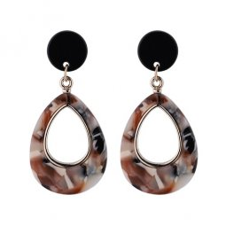 P132938 Colourful Oval Brown Black Korean Earstuds Wholesale