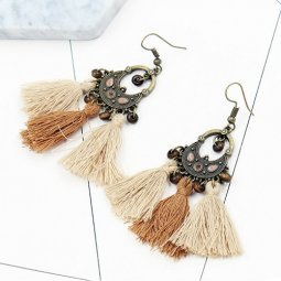 A-HH-HQET-220brown Dark Light Brown Tassels Vintage Beads Hook