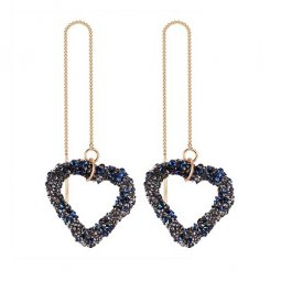 P132241 Korean Style Blue Shining Heart Shape Linked Earstuds