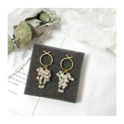 A-TT-972CRYSTAL Korean Dangling Sparkling Crystal Ring Earstuds