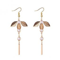 P132248 Elegant Tangling Beads Gold Petals Korean Hook Earrings