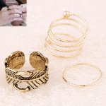 C10071257 Leave gold 3 rings set korean accessories malaysia