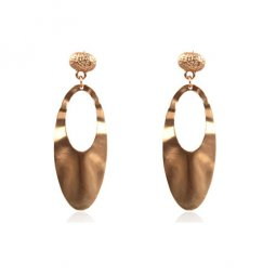A-HH-HQEF1123 Dangling Golden Bead Curvy Oval Large Earrings