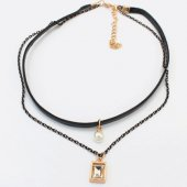 P122907 Two double layers crystal bead charm tattoo choker