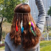 A-HY-H002 Dreamcatcher Feather Peacock Elegant Elastic Headchain