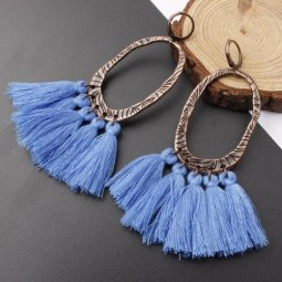 A-SD-XL0205blu Blue Tassel Oval Vintage Wholesale Huggy Earrings