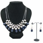 C013090870 Navy blue spike statement necklace and earrings set
