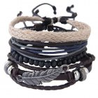 C11042368 Silver Leave Charms Bohemian Friendship Bracelet