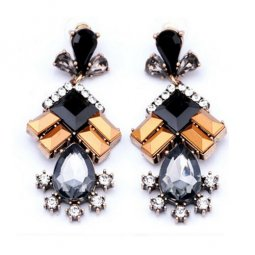 A-CJ-CZ1339 Black Orange Style Diamonds Korean Fashion Earstuds