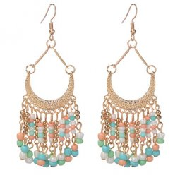 A-Cj-cz8125 Colourful beads spring moon hook earrings