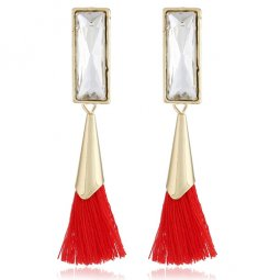A-H2-110E161red Clear Crystal Dangling Red Tassel Earstuds