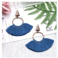 A-HH-HQEF1218blue Blue Vintage Spread Tassel Earstuds