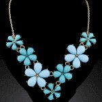 C09052619 Blue flower spring korean choker necklace accessories