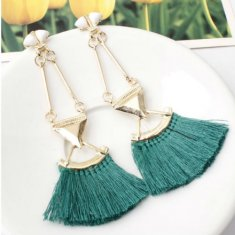 A-SD-EH0149green Green Tassel Gold Triangle Dangling Earstuds