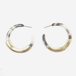 A-SD-XL0078 White Marble With Light Yellow Brown Earrings