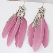 C09091566 Purple feather vintage leave charm feather earrings
