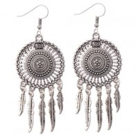 A-DW-HQE476silver Vintage Silver Dream Catcher Hook Earrings