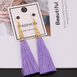 A-QM-332Pur Purple Gold Elegance Dinner Tassel Earrings Shop