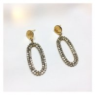 A-LG-ER0279(A)gold Crystals Gold Oval Korean Style Eartstuds