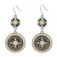A-HH-HQEF1069(white) White Painted Sunflower Silver Hook Earring