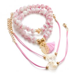 A-ZL- S398 Pink & White Beads Summer Charms Bracelets Set