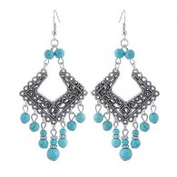 C09101455 Silver Kite Square Tangling Blue Beads Hook Earrings