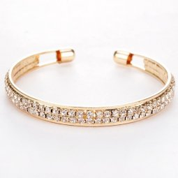 A-Q-Q8170 Shiny crystals gold dinner elegant bangle