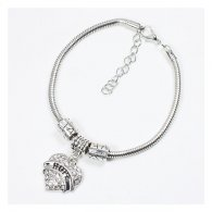 A-BK-001 Amare Sister Engraved White Crystal Heart Shaped Charm