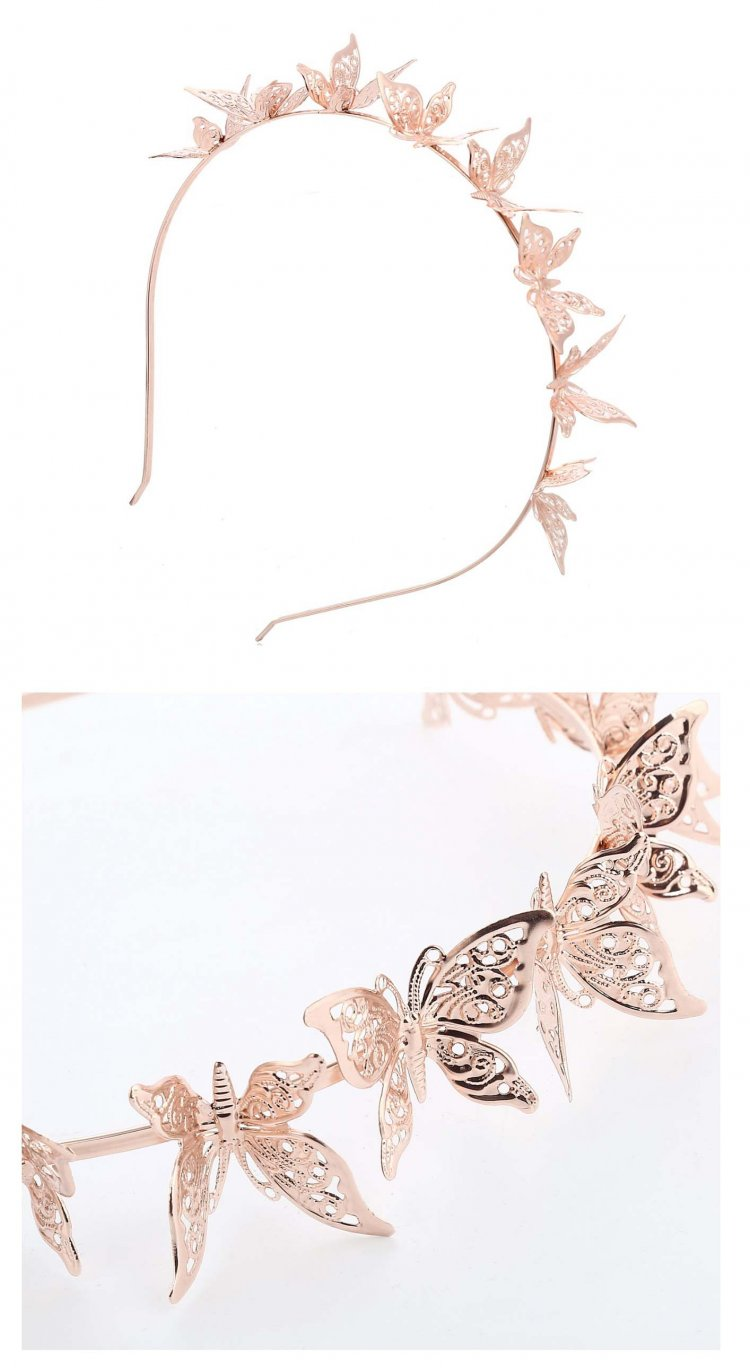 a-SY-FG035 Rose Gold Butterfly Attached Hairband Fashion Accesso