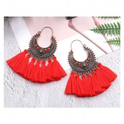 A-HH-HQEF1383(red) Red Tassel Artsy Copper Carving Earrings Fash