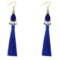 P127540 Blue Oval Dangle Tassel Hook Earrings Wholesale Shop