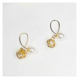 A-JX-E568 Mini Modern Gold Wired Pearl Ball Korean Earstuds