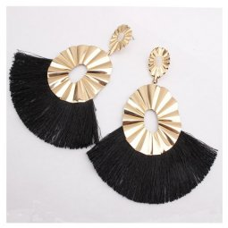 A-SD-XL0162black Golden Wavy Black Spread Tassel Earstuds