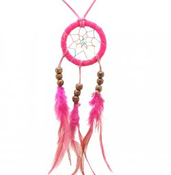 B-DC-pinkb Pink dreamcatcher big feather dangling long necklace