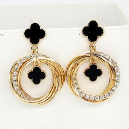 A-FX-E6102clover Black Clover Gold Circle Loop Diamonds Earstuds