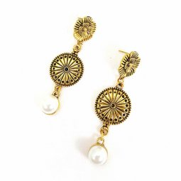 A-GH-ER1515 Flower Copper Gold Ancient Traditional Round Earring