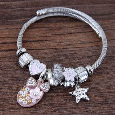 C11040855 Pink Cute Oval Bow Star ILOVEYOU Silver Charm Bracelet