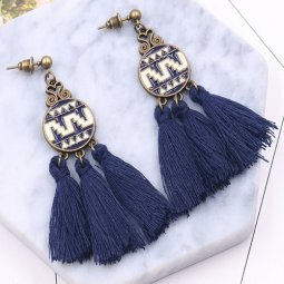 A-HH-HQET-022navyblue Navy Blue Tassels Circle Abstract Earstuds