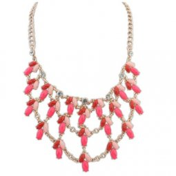 P122282 Red pink 3 layers bead statement necklace malaysia