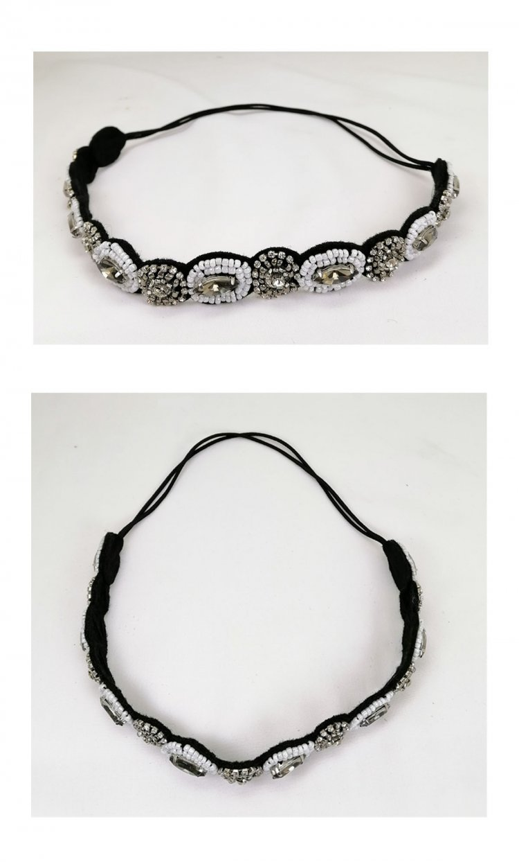 a-JW-X3487 Simple Black & White With Silver Beads Hairband