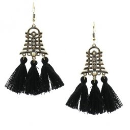 A-HH-HQET-004bla Black Tassels Bell with Diamond Hook Earrings