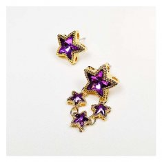A-UK-0452starp Purple Star Gold Borders Small Korean Earstuds