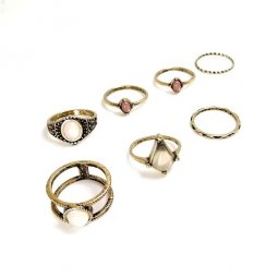 B-MLSF-2019 - GOLD ELEGANT RING SET VINTAGE CHUNKY RINGS