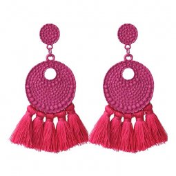 A-FX-E3708dp Pink Bubbly Textured Circle & Tassel Earrings