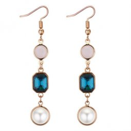 P132219 Blue And White Stone Tangling Hook Earring Wholesale
