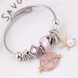 C0150712235pink Pink Beads Cat Gold Star Silver Charm Bracelet