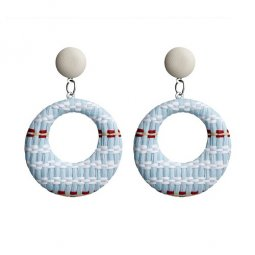 A-FX-E6011-1- Blue White Red Lattice Circle Earstuds Earring